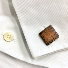Load image into Gallery viewer, Squared Hatch Copper Cuff Link