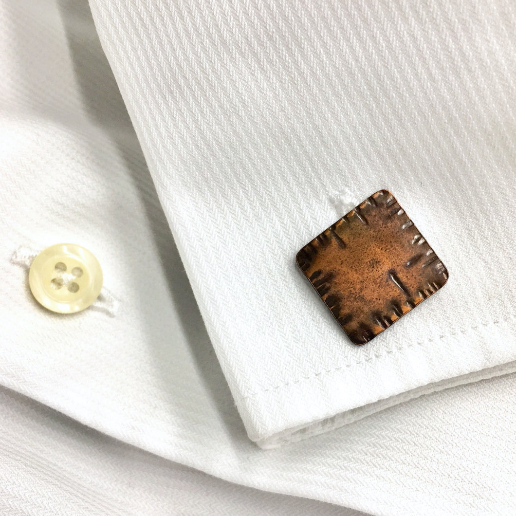 Squared Hatch Copper Cuff Link
