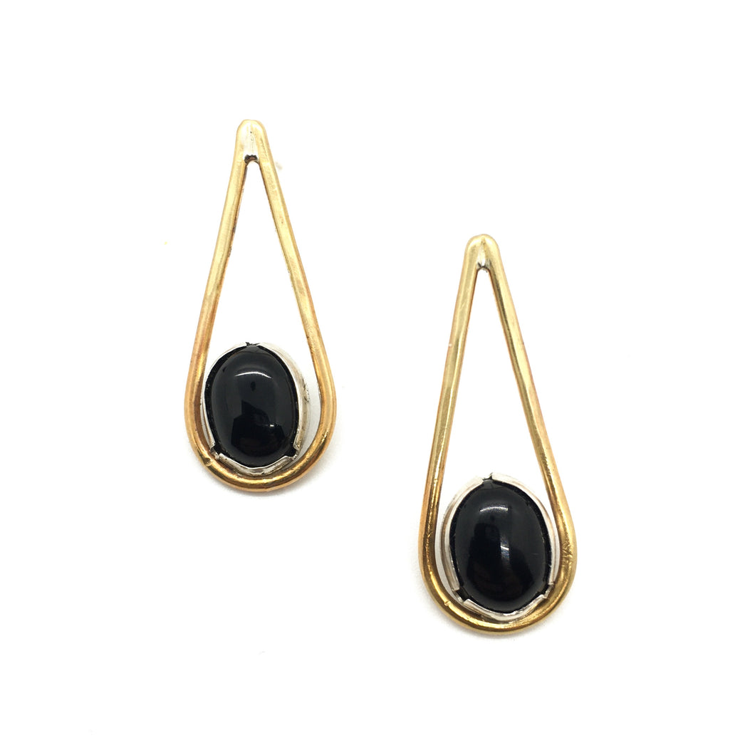 Black Onyx Brass Drop Earrings