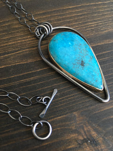 Turquoise & Gold Inverted Drop Necklace