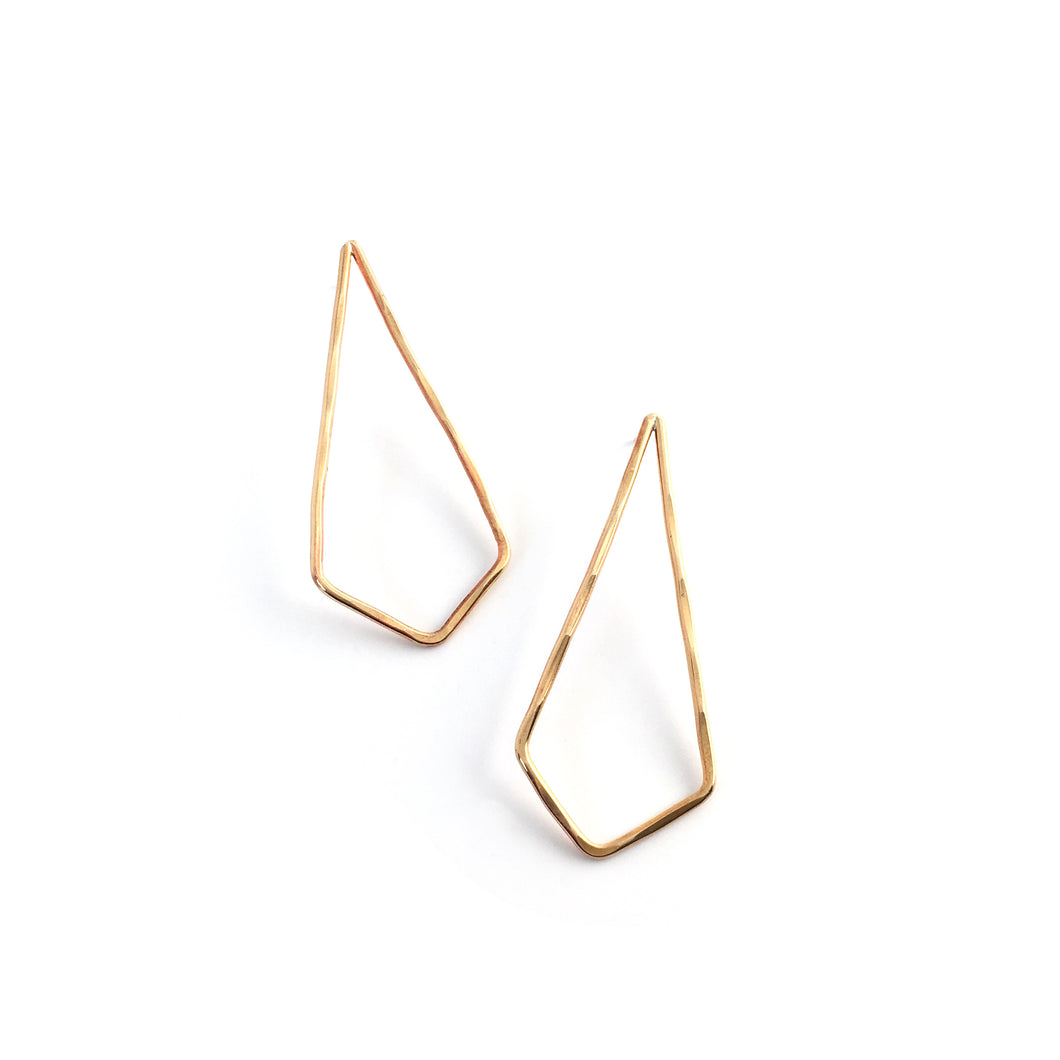 Brass Diamond Shaped Earrings