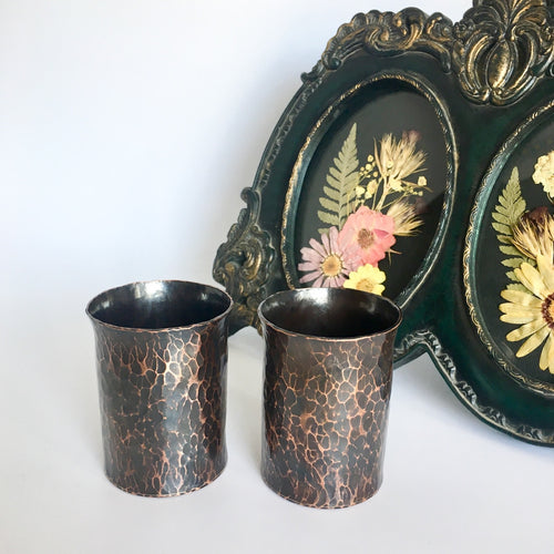 Forged Copper Votive Candle Holders with Patina