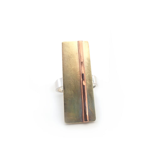Mixed Metal Bar Statement Ring