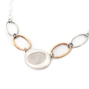 Oval Moonstone and Brass Necklace