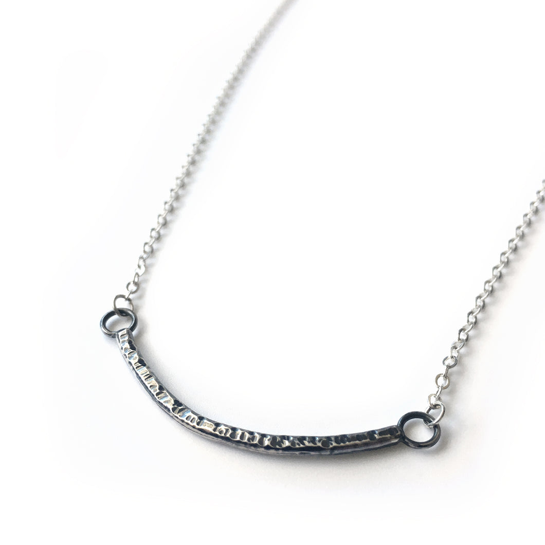 Sterling Silver Hammered Curve Necklace