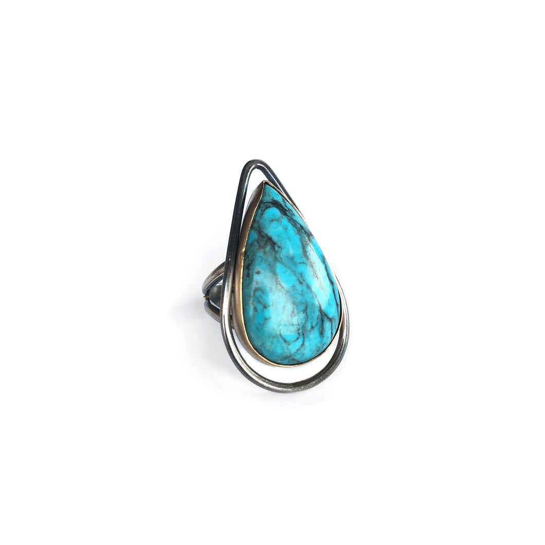 Turquoise & Gold Drop Ring