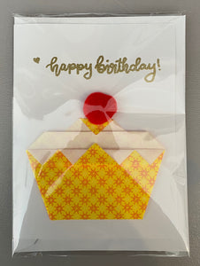 "Origami Cupcake Card with ""Happy Birthday"" Embossing"