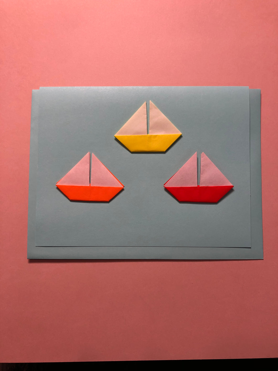 Origami Sailboat Trio Card