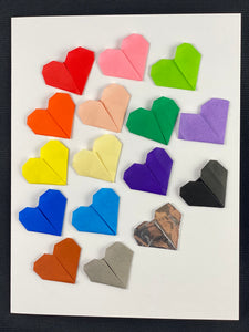 16 Rainbow Origami Hearts Slanted Card