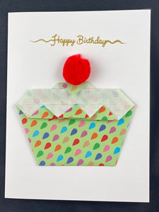 "Copy of Origami Cupcake Card with ""Happy Birthday"" Embossing"