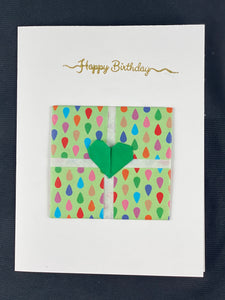 "Origami Present Card with ""Happy Birthday"" Embossing"