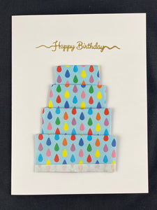 "Origami Cake Card with ""Happy Birthday"" Embossing"