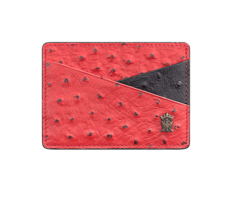 Mens Leather Card Holder Mithanni Ostrich Red