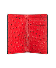 Load image into Gallery viewer, Mens Leather Wallet Mithanni Ostrich Red Gray