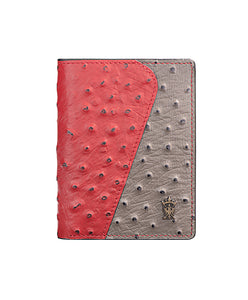 Mens Leather Wallet Mithanni Ostrich Red Gray