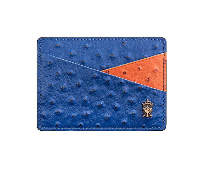 Mens Leather Card Holder Mithanni Ostrich Blue