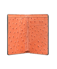 Load image into Gallery viewer, Mens Leather Wallet Mithanni Ostrich Orange Gray