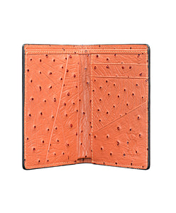 Mens Leather Wallet Mithanni Ostrich Orange Gray