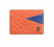 Load image into Gallery viewer, Mens Leather Card Holder Mithanni Ostrich Orange