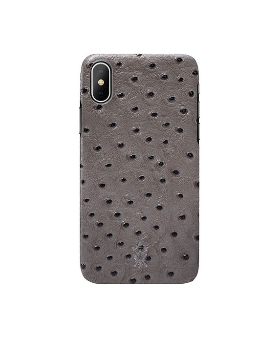 iPhone x Leather Case Mithanni Ostrich Gray