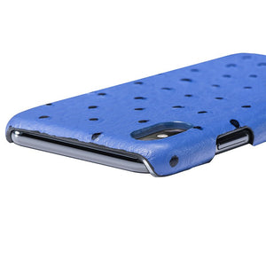 iPhone x Leather Case Mithanni Ostrich Blue