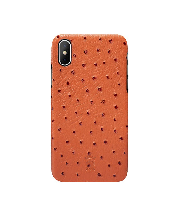 iPhone x Leather Case Mithanni Ostrich Orange
