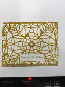 HB Gold sparkly 3D web card