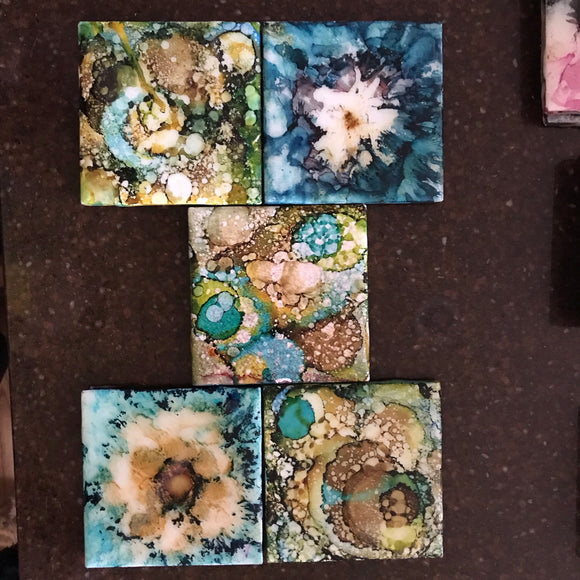 Blue yellow gold green coasters