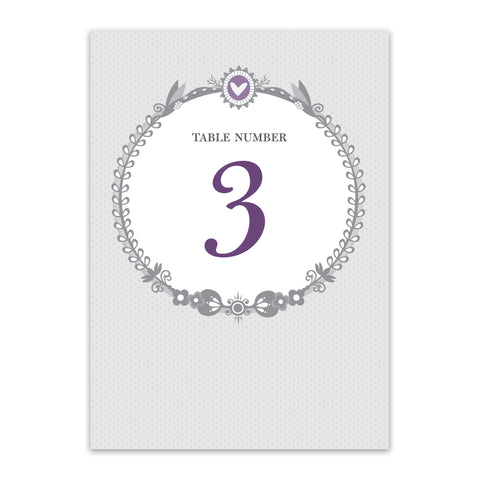 Amethyst Table Numbers