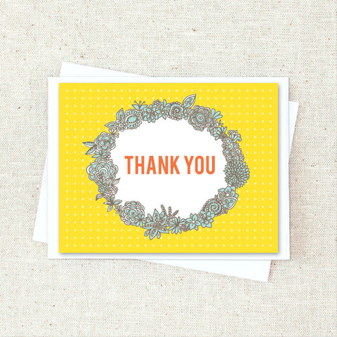 Framed Floral Thank You Greeting Card Set
