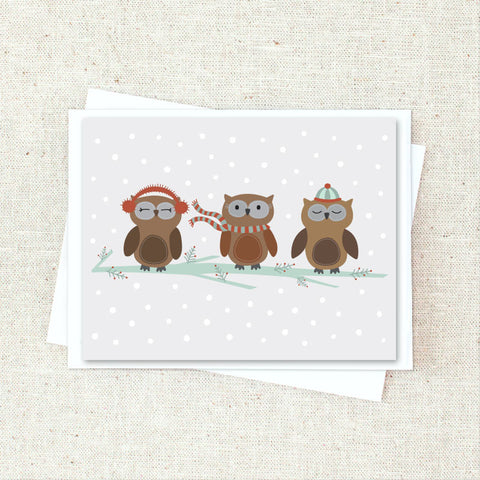 Winter Owls Greeting Card Set