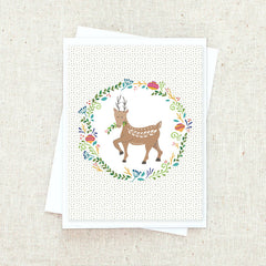 Floral Folk Reindeer Greeting Card Set