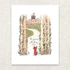 The Journey Fox Castle in the Sky Stationery Art Print