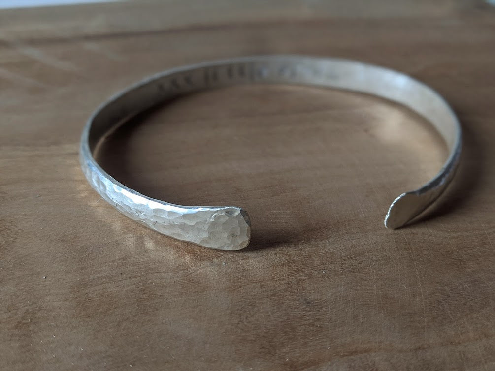 Hammered Bangle with Stamped Message Inside