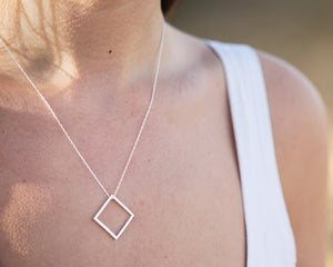 Square Necklace - Recycled Sterling Silver