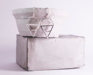 Geometric Drop Earrings - Recycled Sterling Silver