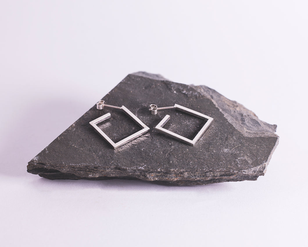 Sterling Silver Small Square Hoops \\ Eco Silver //