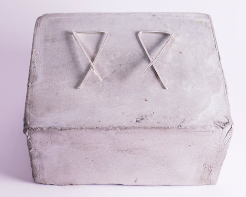 Sterling Silver Cross Threader Earrings \\ Eco Silver //