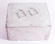 Load image into Gallery viewer, Sterling Silver Small Square Hoops \\ Eco Silver //