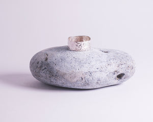 Wide Hammered Band Ring - Recycled Sterling Silver