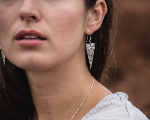 Sterling Silver Hammered Triangles \\ Eco Silver //