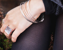 Load image into Gallery viewer, Sterling Silver Bangle with Hoops \\ Eco Silver //