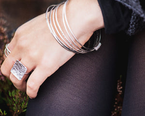 Sterling Silver Hammered Square Ring \\ Eco Silver //