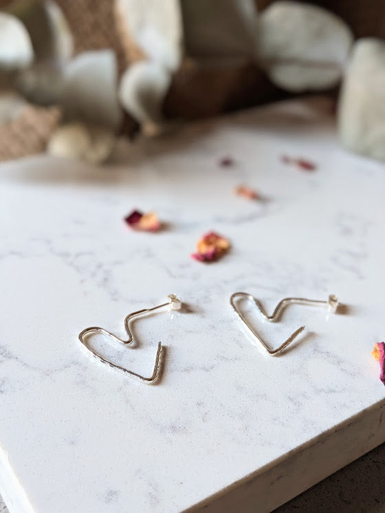 Hammered Heart Hoops - Recycled Sterling Silver
