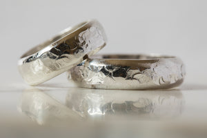 Thick Hammered D Band - Recycled Sterling Silver