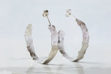 Load image into Gallery viewer, Flat Brushed Hoops - Recycled Sterling Silver