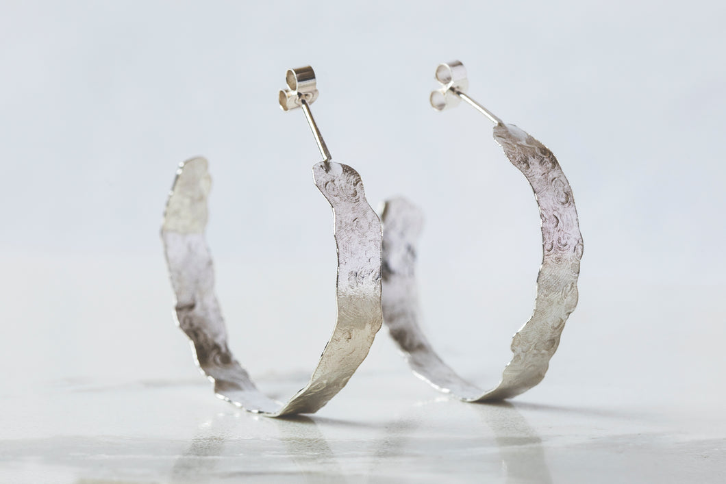 Flat Brushed Hoops - Recycled Sterling Silver