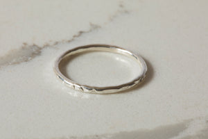 Thin Hammered Band Ring - Recycled Sterling Silver