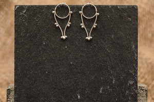 Dotted Drops Stud Earrings - Recycled Sterling Silver