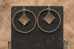 Textured Square Statement Hoops - Recycled Sterling Silver